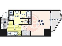 阪堺電気軌道上町線 松虫駅 徒歩3分の賃貸マンション 8階1Kの間取り
