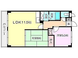 阪神本線 姫島駅 徒歩2分の賃貸マンション 1階2LDKの間取り