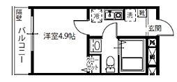 メルディア北綾瀬II 4階1Kの間取り