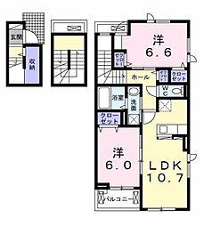 メゾン ド ノアール 3階2LDKの間取り