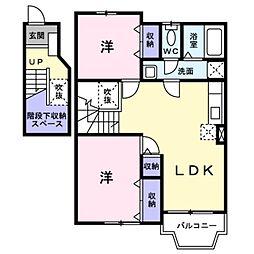 埼玉県三郷市番匠免1の賃貸アパートの間取り