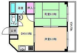 三熊ハイツ7号[4階]の間取り