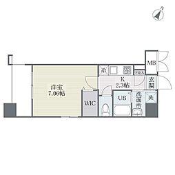 JR鹿児島本線 博多駅 徒歩17分の賃貸マンション 6階1Kの間取り