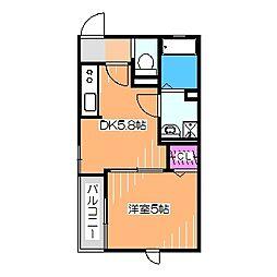 南海高野線 百舌鳥八幡駅 徒歩9分の賃貸アパート 1階1DKの間取り