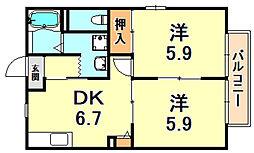 ソレイユ六甲 1階2DKの間取り