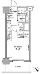 ザ・パークハビオ月島フロント 8階ワンルームの間取り