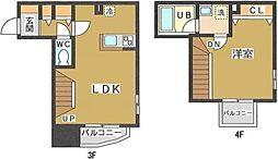 東急目黒線 新丸子駅 徒歩3分の賃貸マンション 3階1LDKの間取り