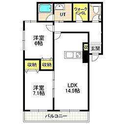 北海道札幌市中央区南十五条西12丁目の賃貸マンションの間取り