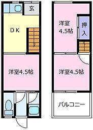 [テラスハウス] 大阪府松原市天美東2丁目 の賃貸【/】の間取り