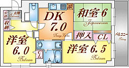 兵庫県神戸市須磨区鷹取町3丁目の賃貸マンションの間取り