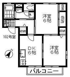 プラザ桜[102号室]の間取り