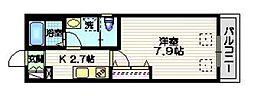 ハレクラニDAITA 1階1Kの間取り