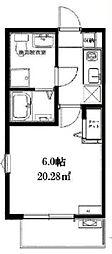 JR常磐線 北小金駅 徒歩12分の賃貸アパート 2階1Kの間取り