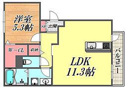 ヴィラージュ武庫之荘 1階1LDKの間取り
