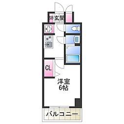 JR阪和線 美章園駅 徒歩9分の賃貸マンション 7階1Kの間取り