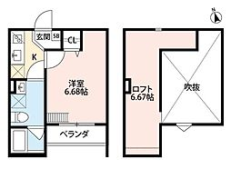 Grande Mare堺東 2階1Kの間取り