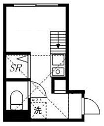 ノースフラワー 1階ワンルームの間取り