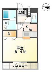 愛知県豊田市下市場町4丁目の賃貸アパートの間取り