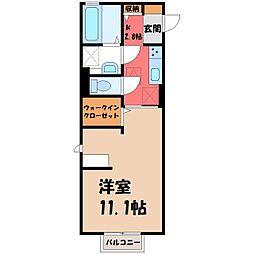 栃木県小山市犬塚3の賃貸アパートの間取り