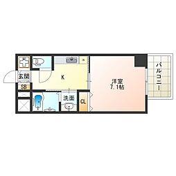 Osaka Metro中央線 阿波座駅 徒歩9分の賃貸マンション 6階1Kの間取り