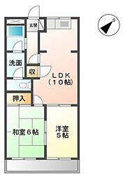 愛知県豊橋市向山町字池下の賃貸アパートの間取り
