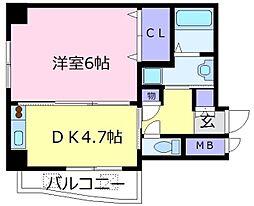 メゾンプレアデス 4階1DKの間取り