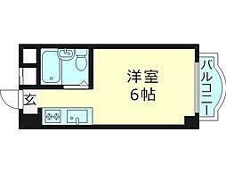 リベルテ京橋 1階ワンルームの間取り