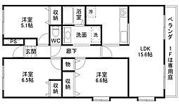 エクレール西井[4階]の間取り