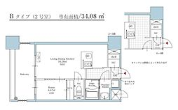 福岡市地下鉄空港線 大濠公園駅 徒歩3分の賃貸マンション 2階1LDKの間取り