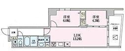 Luce 6階2LDKの間取り