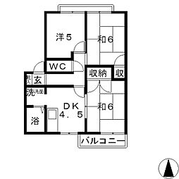 コーポ上野 B[105号室]の間取り