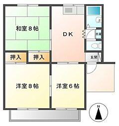 愛知県豊橋市新栄町字大溝の賃貸アパートの間取り