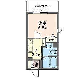 アルカディア横濱 2階1Kの間取り