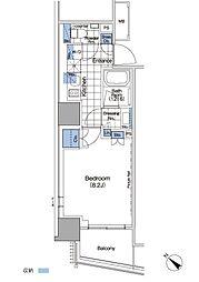 パークハビオ赤坂タワー 16階1Kの間取り