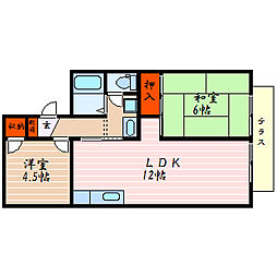 滋賀県米原市中多良2丁目の賃貸アパートの間取り