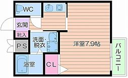 Osaka Metro御堂筋線 天王寺駅 徒歩9分の賃貸マンション 6階1Kの間取り