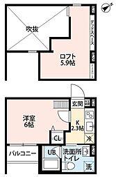 南海高野線 堺東駅 徒歩17分の賃貸アパート 2階1Kの間取り