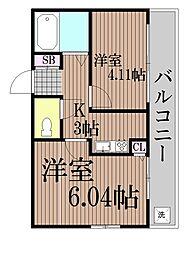 東京都大田区南六郷2丁目の賃貸マンションの間取り