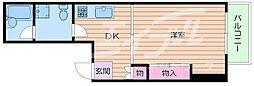 阪急箕面線 箕面駅 徒歩5分の賃貸マンション 6階1DKの間取り