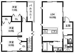 [テラスハウス] 滋賀県栗東市綣6丁目 の賃貸【/】の間取り
