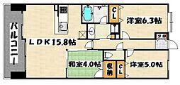 アーバンパレス井尻クレア[402号室]の間取り