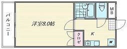 パピヨン箱崎[205号室]の間取り