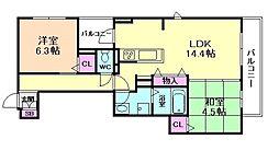 シャーメゾン熊野町 3階2LDKの間取り