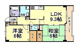 JR東海道・山陽本線 芦屋駅 徒歩3分の賃貸マンション 3階2LDKの間取り