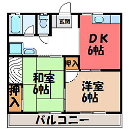 栃木県宇都宮市下岡本町の賃貸アパートの間取り