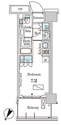 パークアクシス横濱大通り公園 10階ワンルームの間取り
