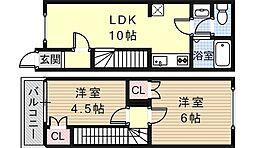 [一戸建] 大阪府大阪市住吉区沢之町1丁目 の賃貸【/】の間取り