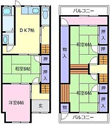 [テラスハウス] 大阪府松原市西大塚2丁目 の賃貸【/】の間取り