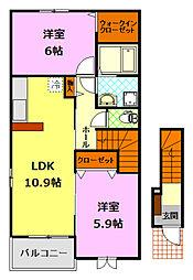 関東鉄道常総線 下妻駅 徒歩27分の賃貸アパート 2階2LDKの間取り