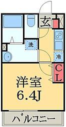 JR総武本線 東千葉駅 徒歩14分の賃貸マンション 2階1Kの間取り